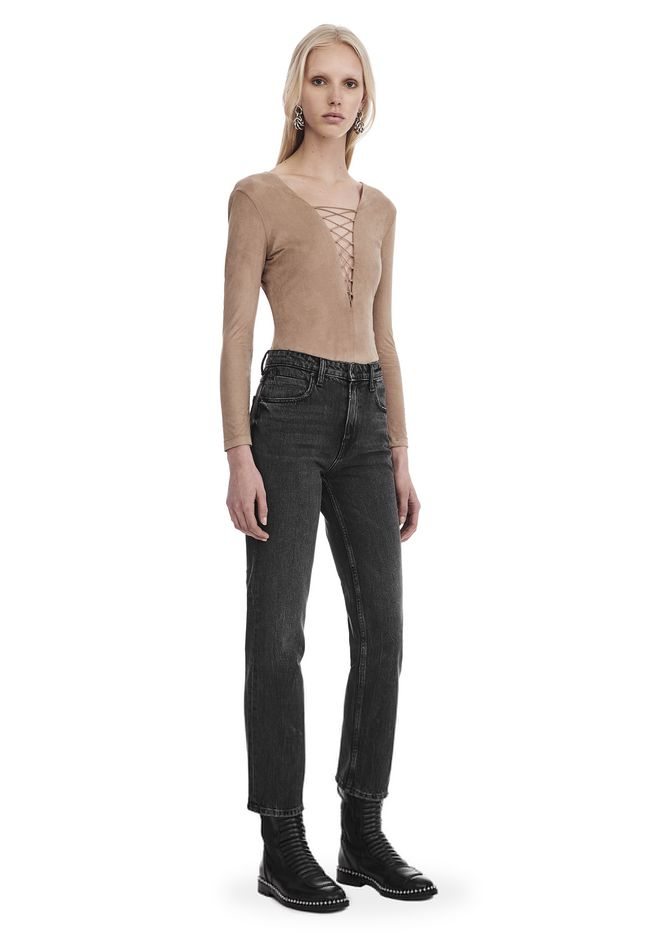 T by ALEXANDER WANG STRETCH FAUX SUEDE LONG SLEEVE LACE-UP BODYSUIT 上衣 Adult 12_n_f