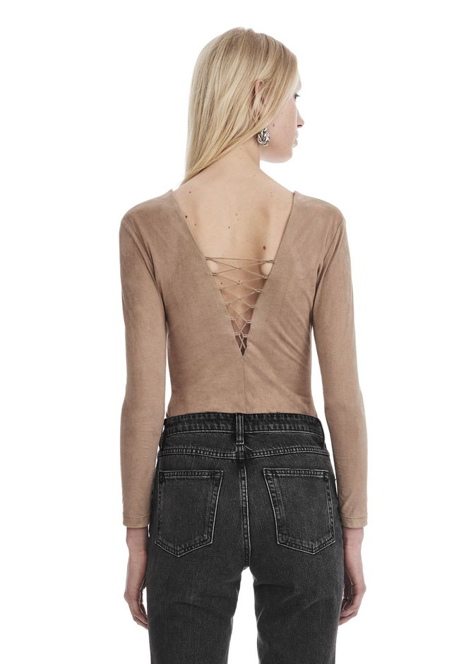 T by ALEXANDER WANG STRETCH FAUX SUEDE LONG SLEEVE LACE-UP BODYSUIT TOP Adult 12_n_r