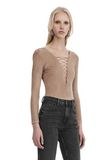 T by ALEXANDER WANG STRETCH FAUX SUEDE LONG SLEEVE LACE-UP BODYSUIT TOP Adult 8_n_a