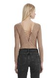 T by ALEXANDER WANG STRETCH FAUX SUEDE LONG SLEEVE LACE-UP BODYSUIT TOP Adult 8_n_r