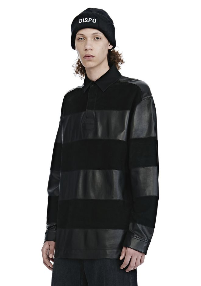 ALEXANDER WANG EXCLUSIVE LEATHER RUGBY POLO SHIRT 탑 Adult 12_n_a