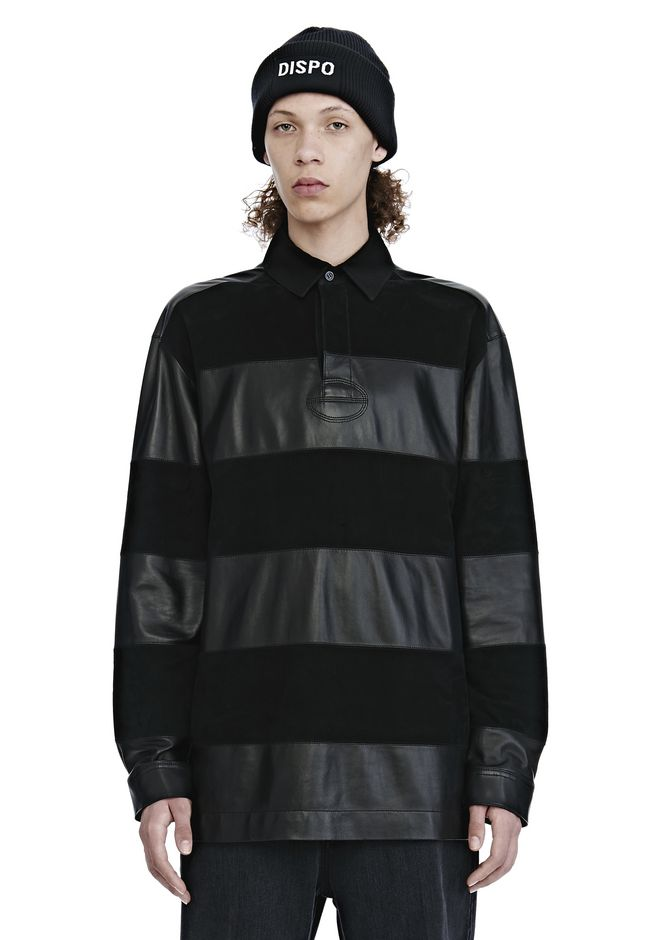 ALEXANDER WANG EXCLUSIVE LEATHER RUGBY POLO SHIRT TOP Adult 12_n_e