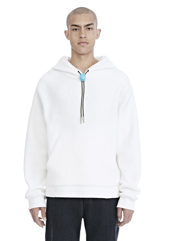ALEXANDER WANG new-arrivals CLASSIC BLACK FLEECE HOODIE WITH BOLO TIE