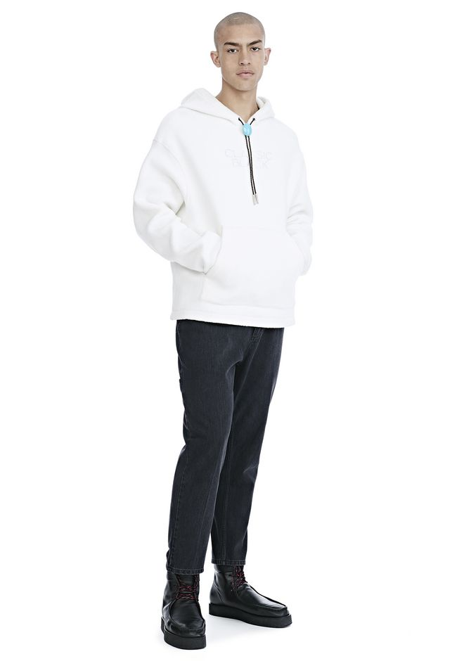 ALEXANDER WANG CLASSIC BLACK FLEECE HOODIE WITH BOLO TIE パーカー Adult 12_n_f