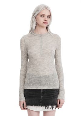 LONG SLEEVE TOP WITH ZIP HALF PLACKET