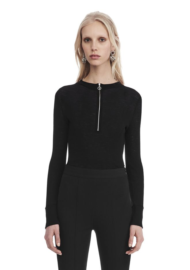 T by ALEXANDER WANG sltbssw LONG SLEEVE TOP WITH ZIP HALF PLACKET