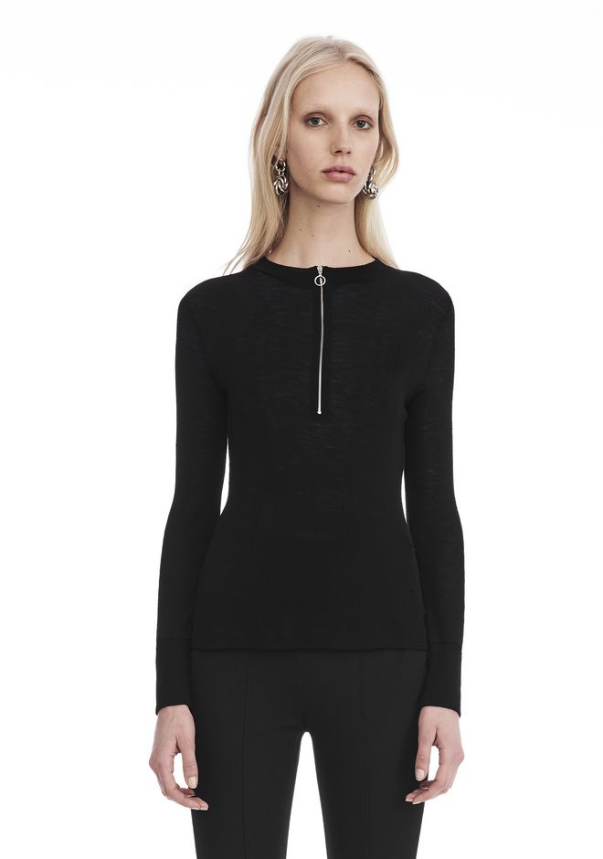 T by ALEXANDER WANG LONG SLEEVE TOP WITH ZIP HALF PLACKET TOP Adult 12_n_a