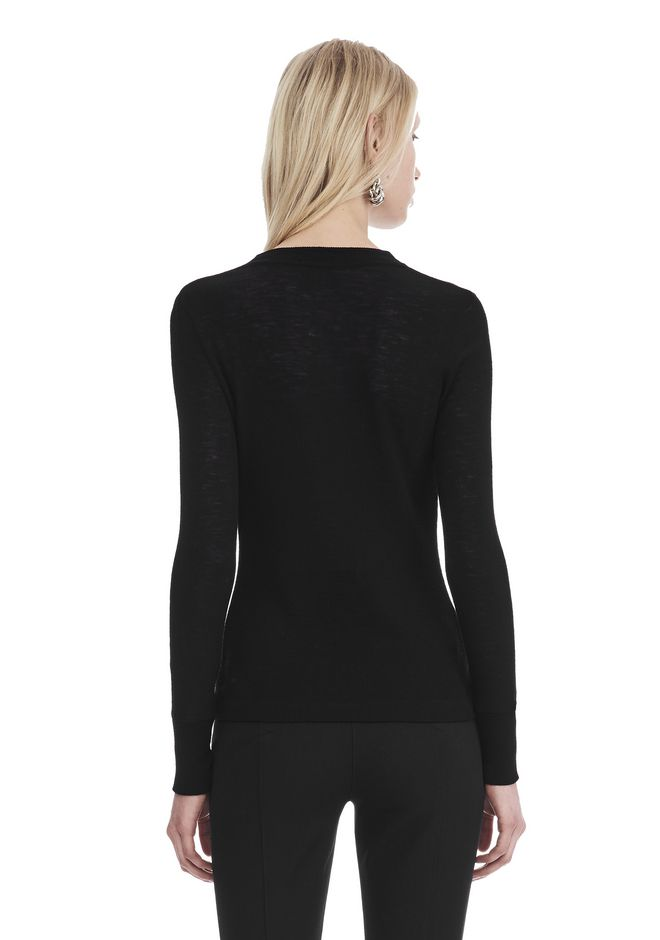 T by ALEXANDER WANG LONG SLEEVE TOP WITH ZIP HALF PLACKET TOP Adult 12_n_d