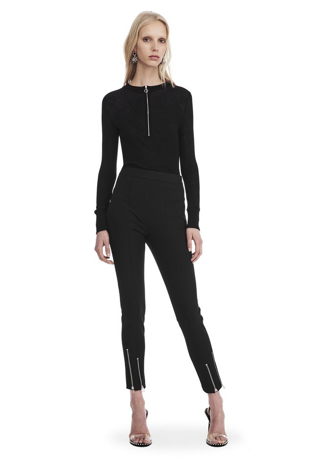 T by ALEXANDER WANG LONG SLEEVE TOP WITH ZIP HALF PLACKET TOP Adult 12_n_f