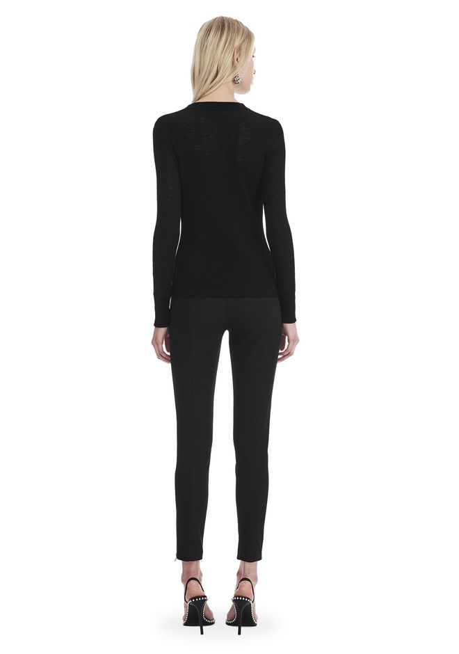 T by ALEXANDER WANG LONG SLEEVE TOP WITH ZIP HALF PLACKET TOP Adult 12_n_r
