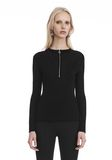 T by ALEXANDER WANG LONG SLEEVE TOP WITH ZIP HALF PLACKET TOP Adult 8_n_a