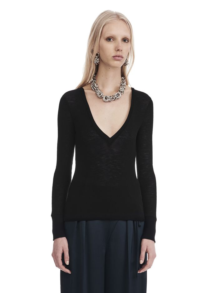T by ALEXANDER WANG sltbssw SHEER WOOLY RIB L/S DEEPV TOP