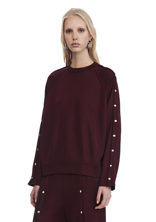 T by ALEXANDER WANG CREWNECK SWEATSHIRT WITH SNAPS TOP Adult 12_n_a