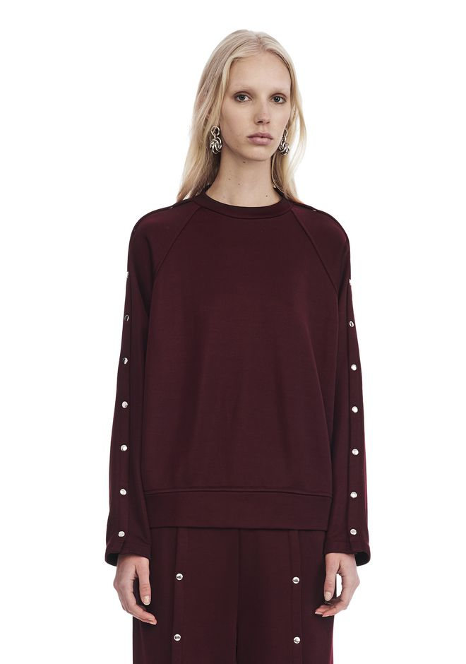 T by ALEXANDER WANG CREWNECK SWEATSHIRT WITH SNAPS TOP Adult 12_n_e