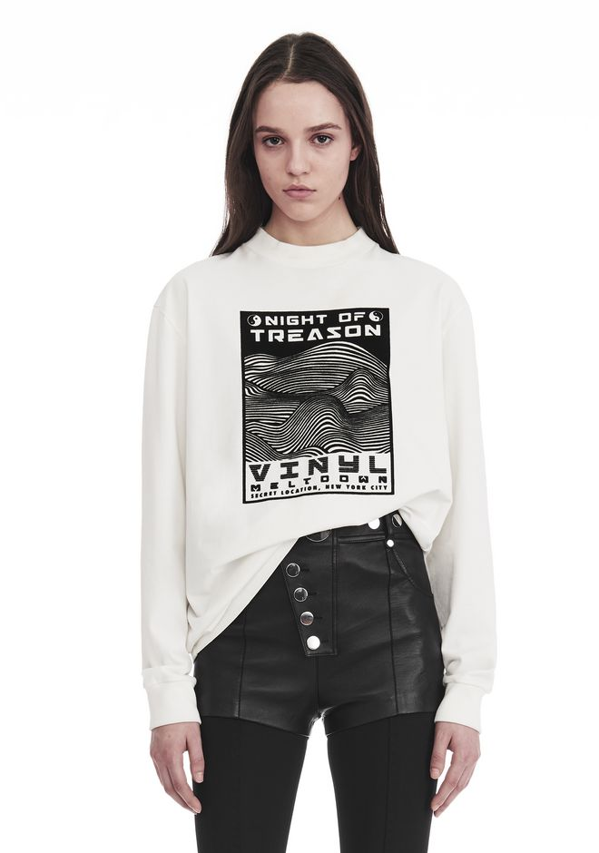 ALEXANDER WANG slrtwtp EXCLUSIVE LONG SLEEVE TEE WITH FLOCKING ARTWORK