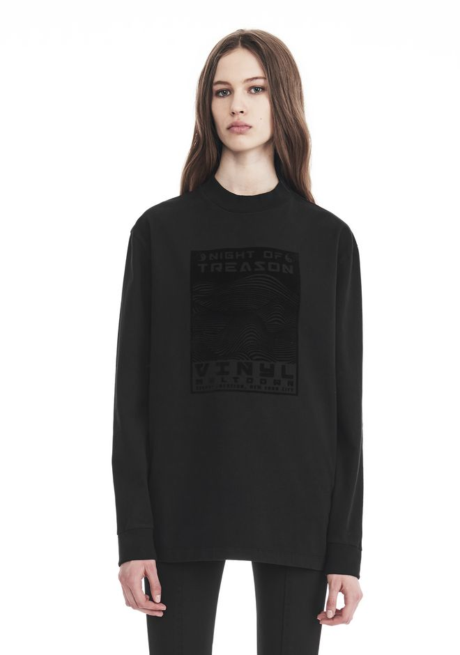 ALEXANDER WANG EXCLUSIVE LONG SLEEVE TEE WITH FLOCKING ARTWORK TOP Adult 12_n_a