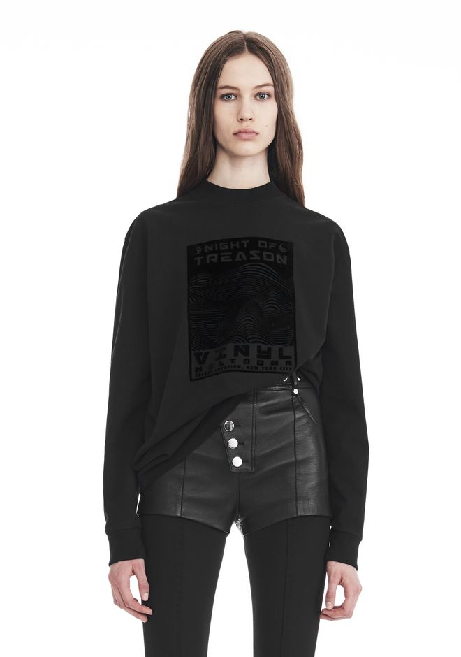 ALEXANDER WANG EXCLUSIVE LONG SLEEVE TEE WITH FLOCKING ARTWORK TOP Adult 12_n_e