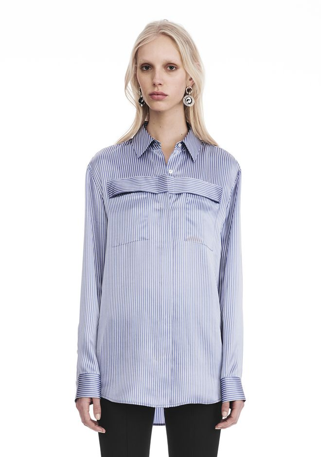 T by ALEXANDER WANG t-by-alexander-wang-sale STRIPED LONG SLEEVE COLLARED SHIRT