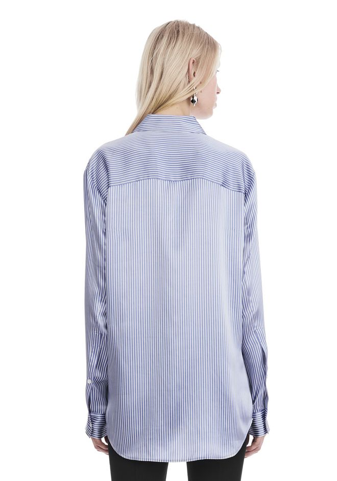 T by ALEXANDER WANG STRIPED LONG SLEEVE COLLARED SHIRT  上衣 Adult 12_n_d