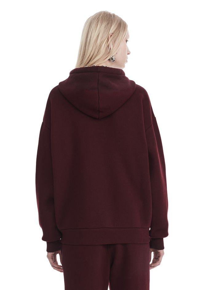 T by ALEXANDER WANG DENSE FLEECE ZIP THRU HOODIE TOP Adult 12_n_d