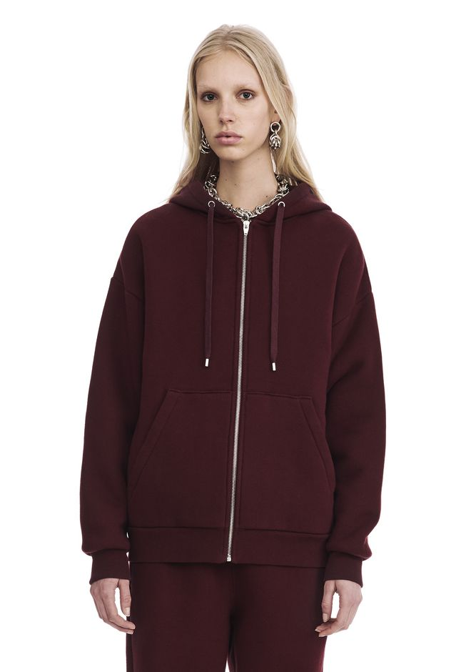 T by ALEXANDER WANG DENSE FLEECE ZIP THRU HOODIE TOP Adult 12_n_e