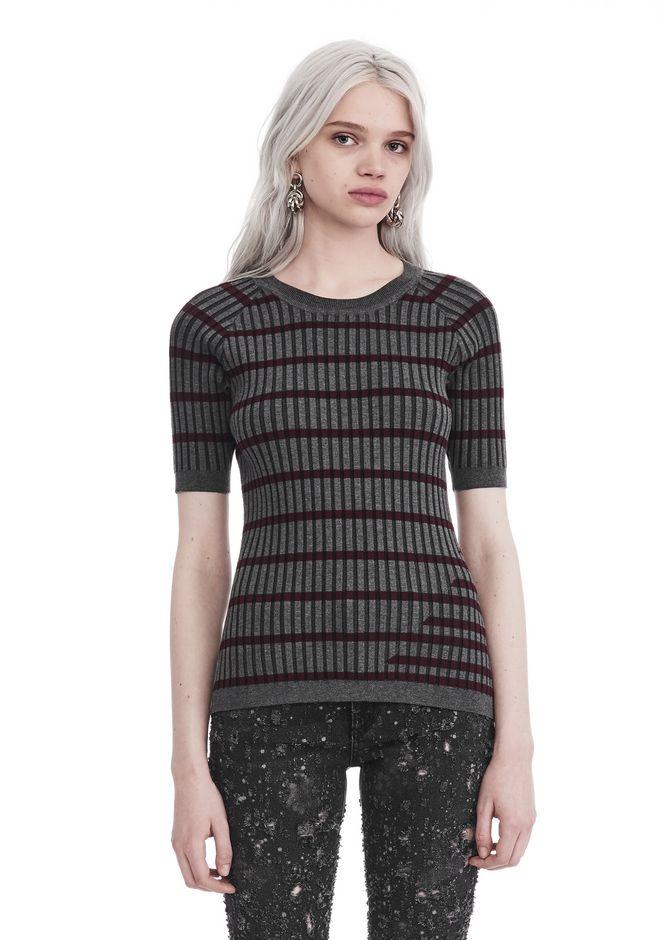 T by ALEXANDER WANG knitwear-t-by-alexander-wang-woman STRIPE INTARSIA SHORT SLEEVE SWEATER