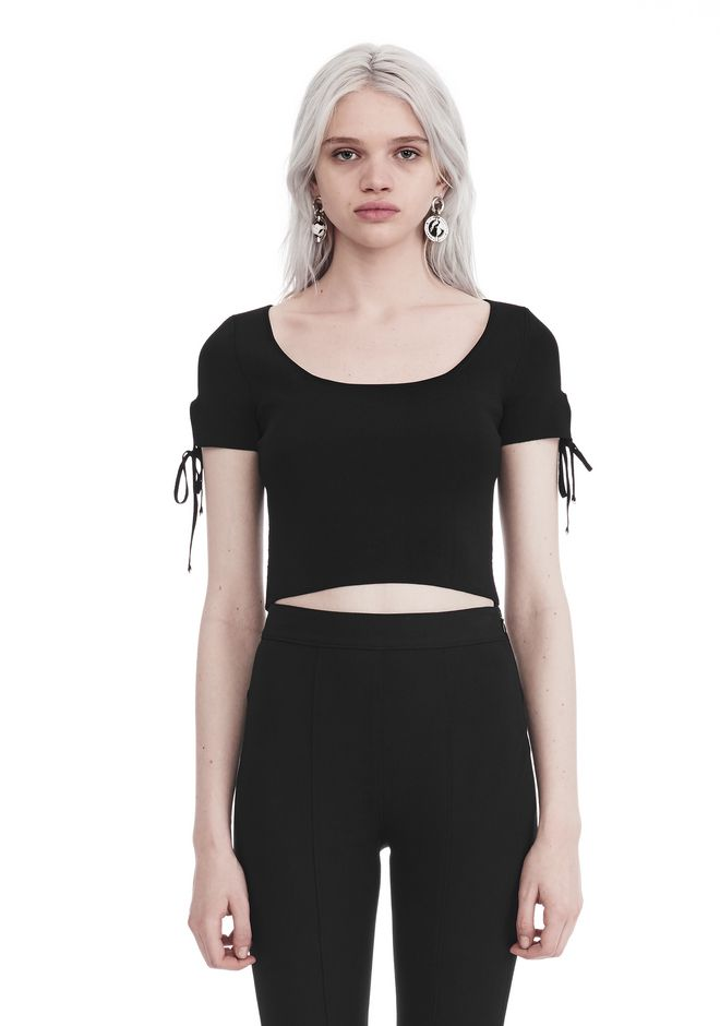T by ALEXANDER WANG sltbssw RIBBED SHORT SLEEVE CROPPED SWEATER WITH TIE DETAIL