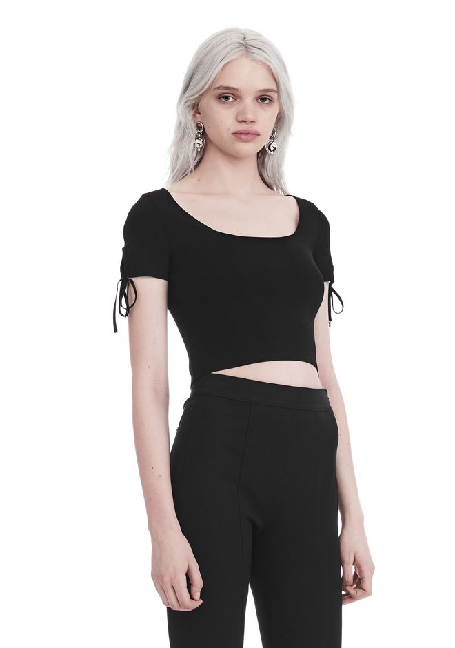 T by ALEXANDER WANG RIBBED SHORT SLEEVE CROPPED SWEATER WITH TIE DETAIL  TOP Adult 12_n_a