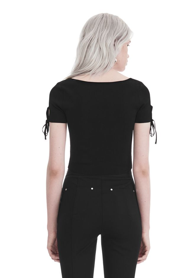 T by ALEXANDER WANG RIBBED SHORT SLEEVE CROPPED SWEATER WITH TIE DETAIL  TOP Adult 12_n_d