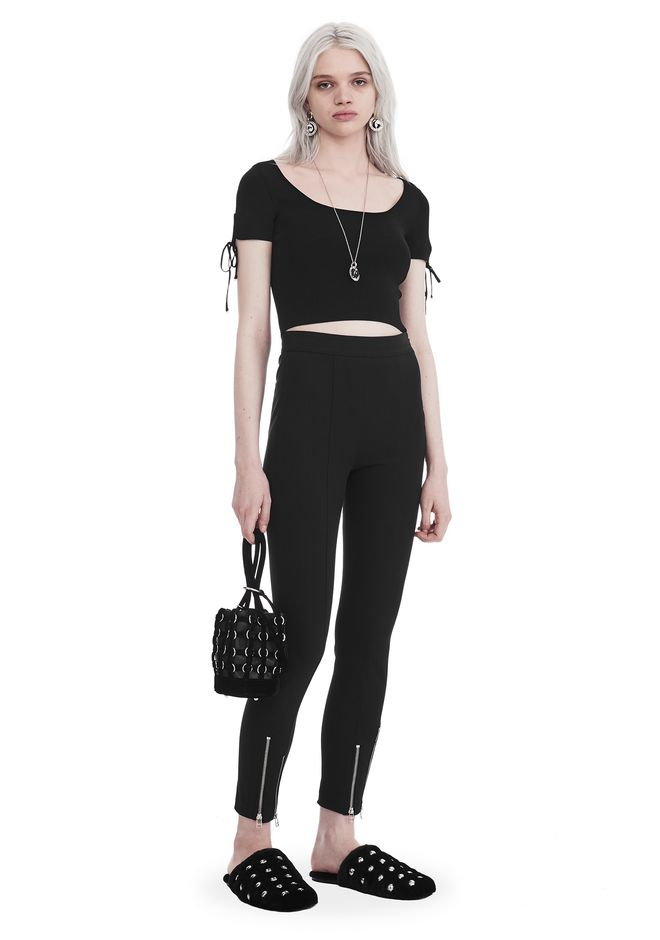T by ALEXANDER WANG RIBBED SHORT SLEEVE CROPPED SWEATER WITH TIE DETAIL  TOP Adult 12_n_f