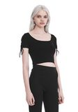 T by ALEXANDER WANG RIBBED SHORT SLEEVE CROPPED SWEATER WITH TIE DETAIL  TOP Adult 8_n_a