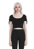 T by ALEXANDER WANG RIBBED SHORT SLEEVE CROPPED SWEATER WITH TIE DETAIL  TOP Adult 8_n_e