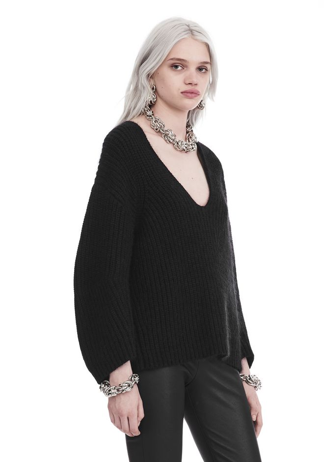 T by ALEXANDER WANG CHUNKY MOHAIR LONG SLEEVE V-NECK PULLOVER TOP Adult 12_n_a