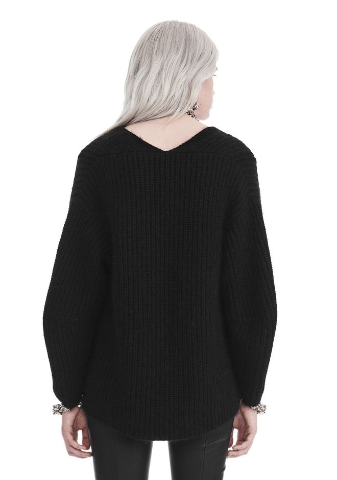T by ALEXANDER WANG CHUNKY MOHAIR LONG SLEEVE V-NECK PULLOVER TOP Adult 12_n_d