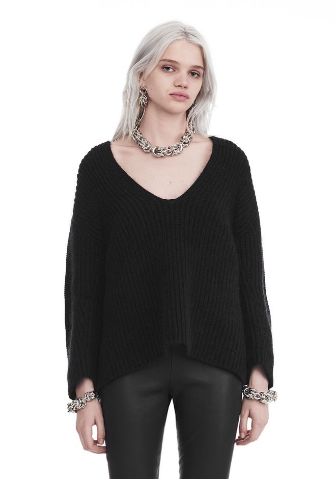 T by ALEXANDER WANG CHUNKY MOHAIR LONG SLEEVE V-NECK PULLOVER TOP Adult 12_n_e