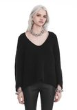 T by ALEXANDER WANG CHUNKY MOHAIR LONG SLEEVE V-NECK PULLOVER TOP Adult 8_n_e