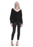 T by ALEXANDER WANG CHUNKY MOHAIR LONG SLEEVE V-NECK PULLOVER TOP Adult 8_n_f