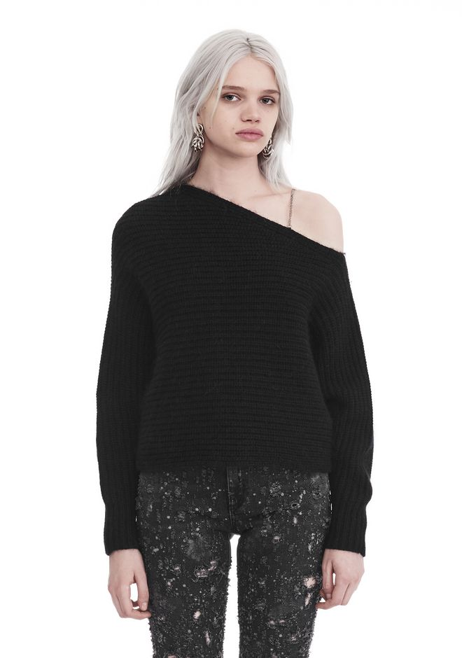 T by ALEXANDER WANG knitwear-t-by-alexander-wang-woman CHUNKY MOHAIR LONG SLEEVE ASYMMETRICAL SWEATER