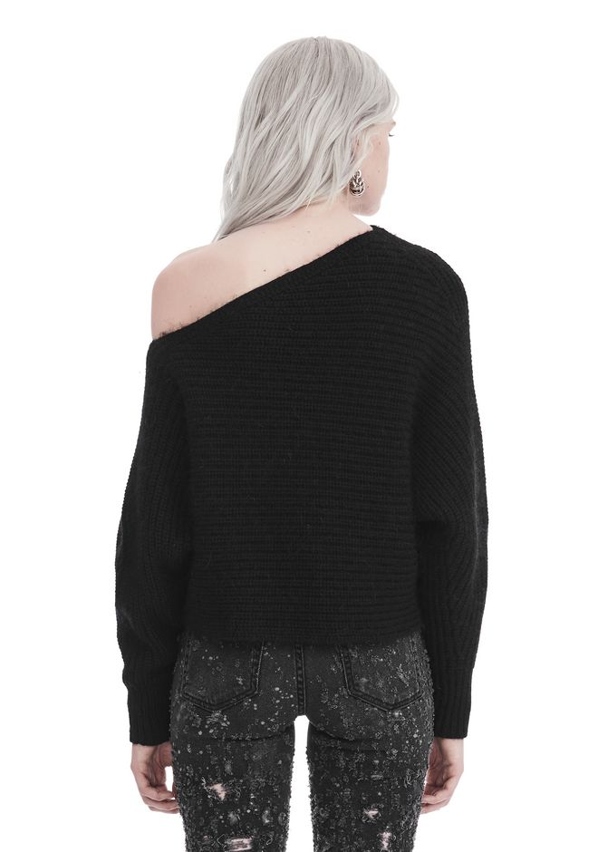 T by ALEXANDER WANG CHUNKY MOHAIR LONG SLEEVE ASYMMETRICAL SWEATER TOP Adult 12_n_d
