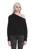 T by ALEXANDER WANG CHUNKY MOHAIR LONG SLEEVE ASYMMETRICAL SWEATER TOP Adult 8_n_e