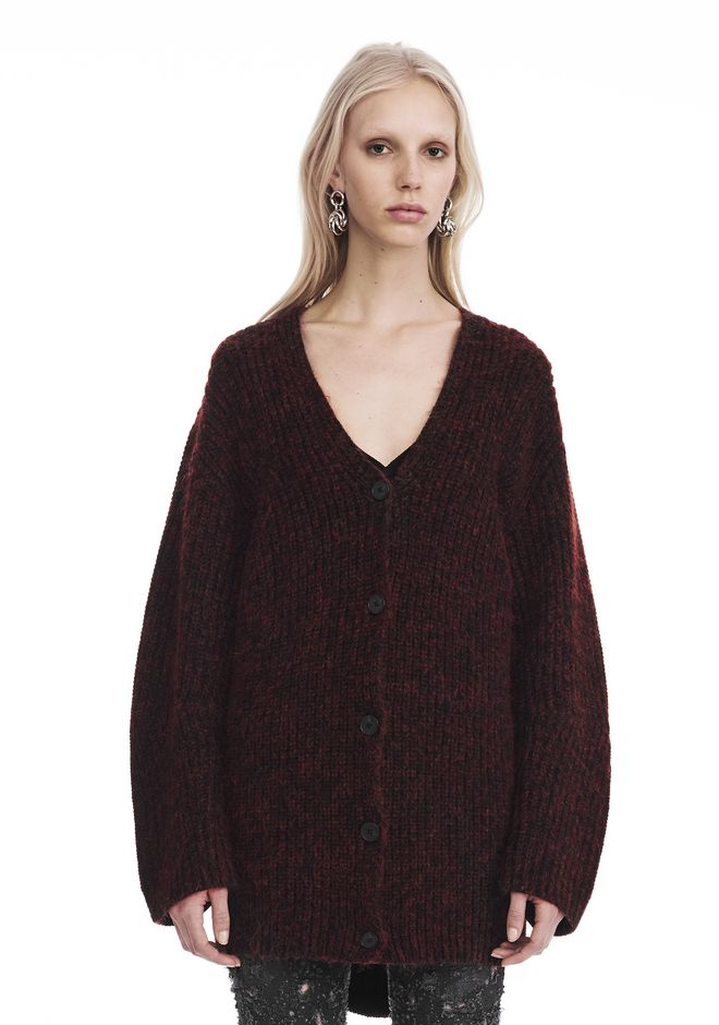 T by ALEXANDER WANG knitwear-t-by-alexander-wang-woman CHUNKY MOHAIR LONG SLEEVE V-NECK CARDIGAN