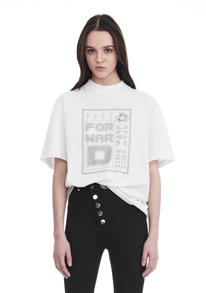 ALEXANDER WANG EXCLUSIVE SHORT SLEEVE TEE WITH GEL DOT ARTWORK TOP Adult 12_n_e