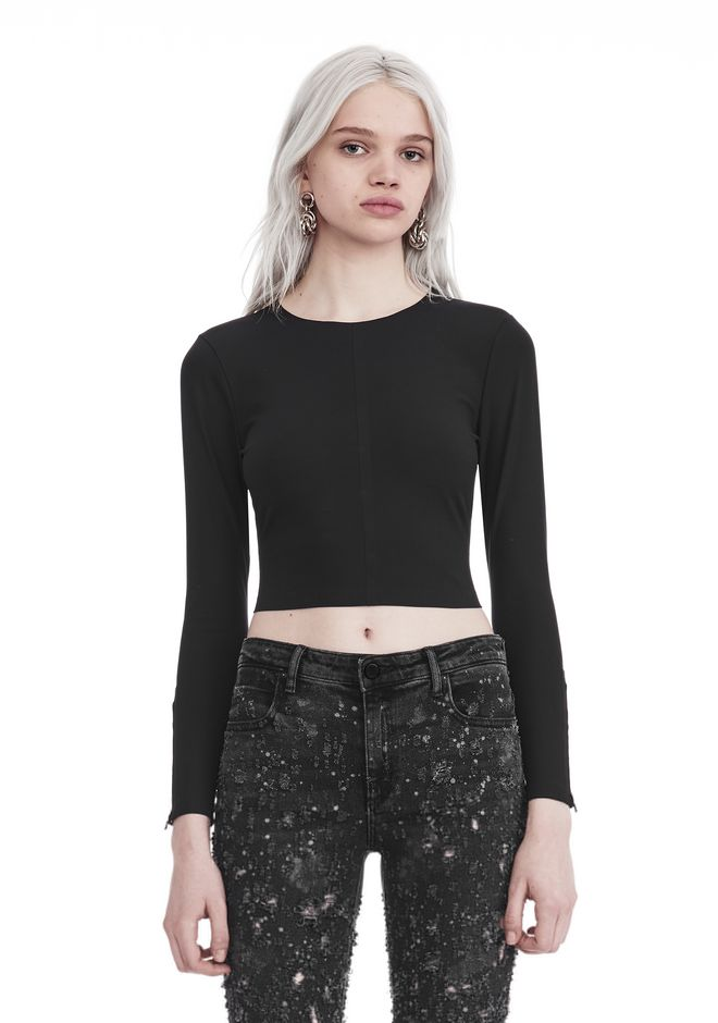 T by ALEXANDER WANG sltbssw COMPACT STRETCH LONG SLEEVE CROPPED TOP