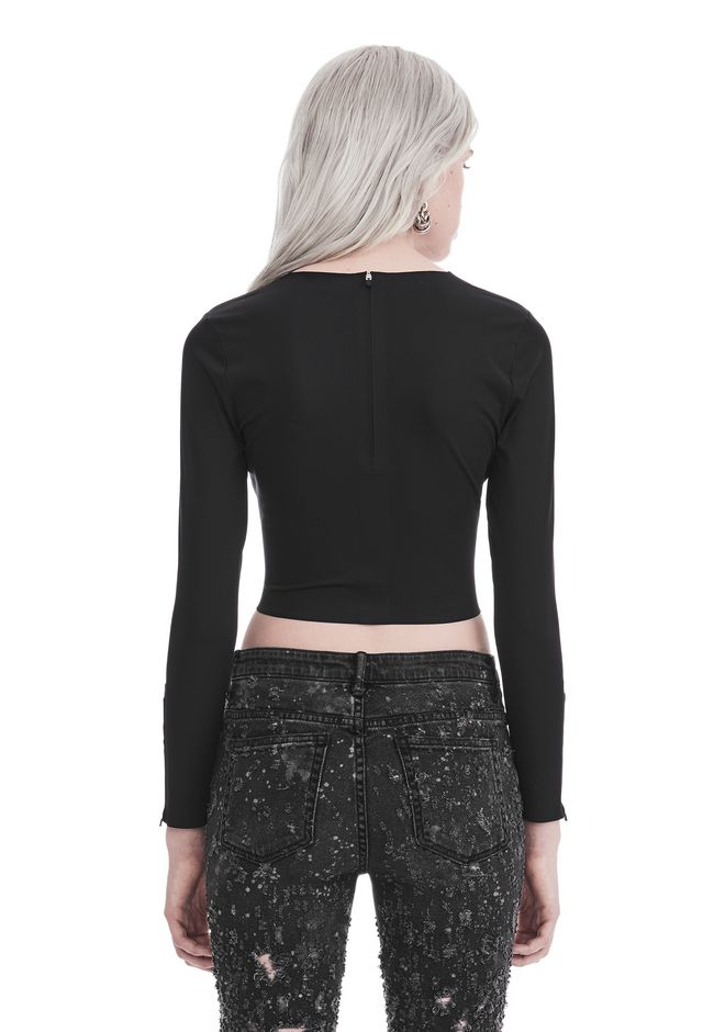 T by ALEXANDER WANG COMPACT STRETCH LONG SLEEVE CROPPED TOP 上衣 Adult 12_n_d