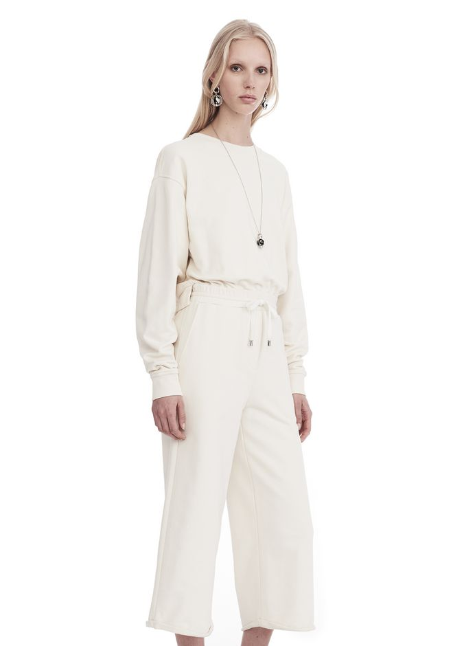 T by ALEXANDER WANG DRY FRENCH TERRY LONG SLEEVE TIE-BACK JUMPSUIT 上衣 Adult 12_n_a