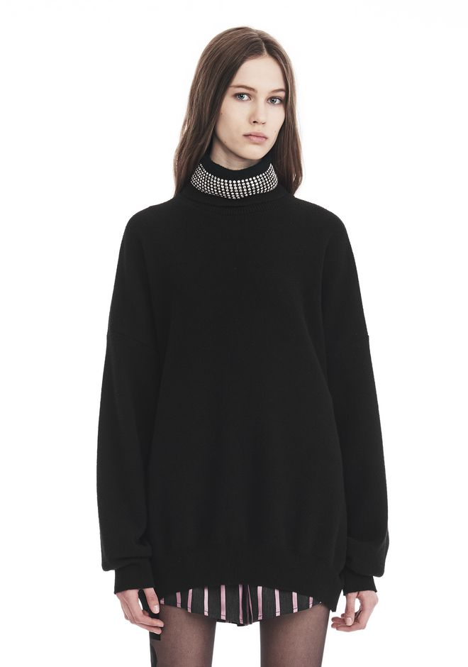 ALEXANDER WANG TOPS Women TURTLENECK PULLOVER WITH CRYSTAL NECK TRIM