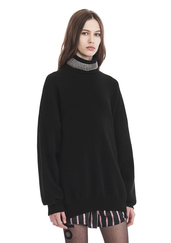 ALEXANDER WANG TURTLENECK PULLOVER WITH CRYSTAL NECK TRIM TOP Adult 12_n_r