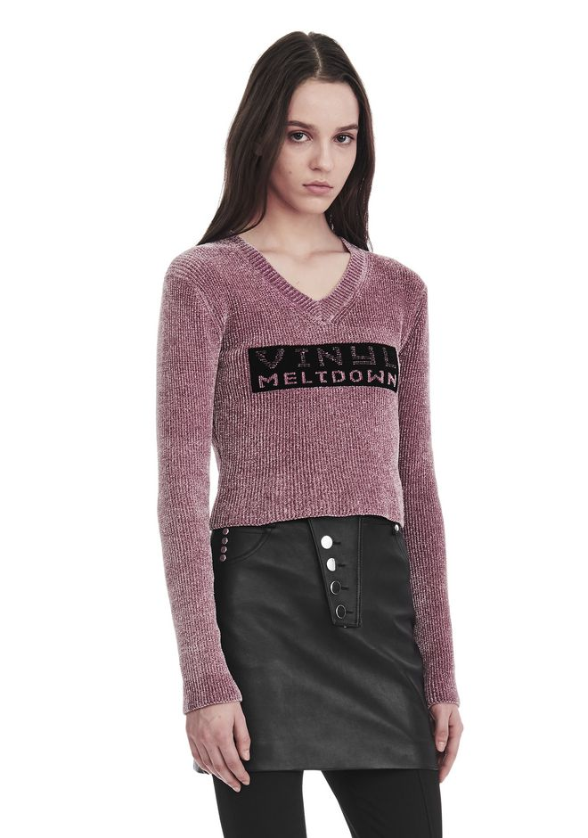 ALEXANDER WANG V- NECK PULLOVER WITH 'VINYL MELTDOWN' JACQUARD TOP Adult 12_n_a