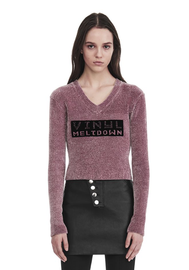 ALEXANDER WANG V- NECK PULLOVER WITH 'VINYL MELTDOWN' JACQUARD TOP Adult 12_n_e