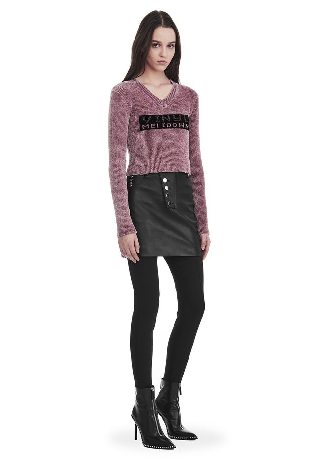 ALEXANDER WANG V- NECK PULLOVER WITH 'VINYL MELTDOWN' JACQUARD TOP Adult 12_n_f